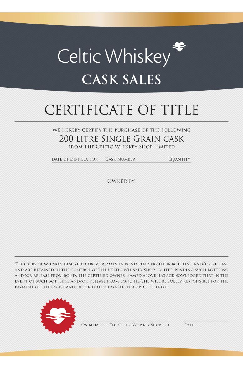 New Make Single Grain Cask Great Northern Distillery