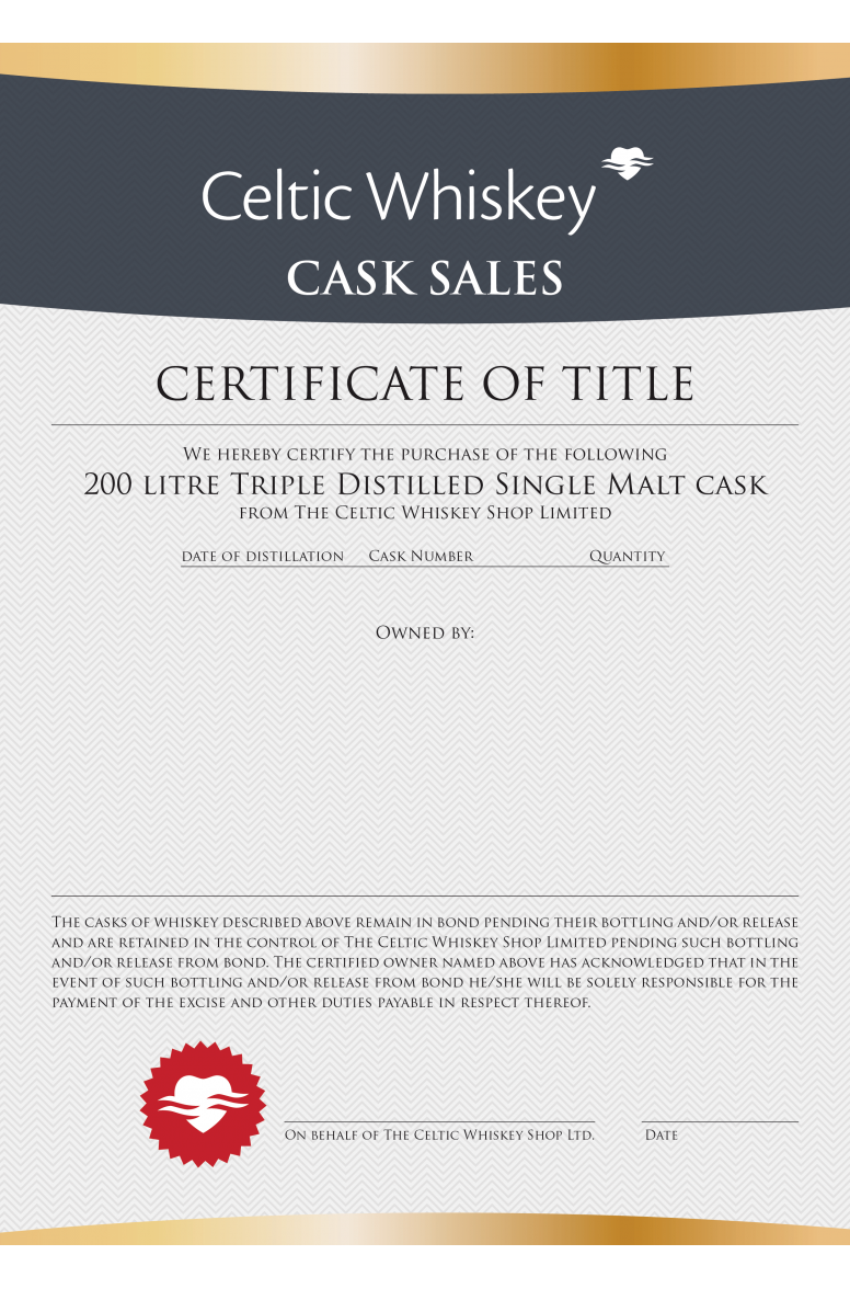New Make Triple Distilled Single Malt Cask Great Northern Distillery
