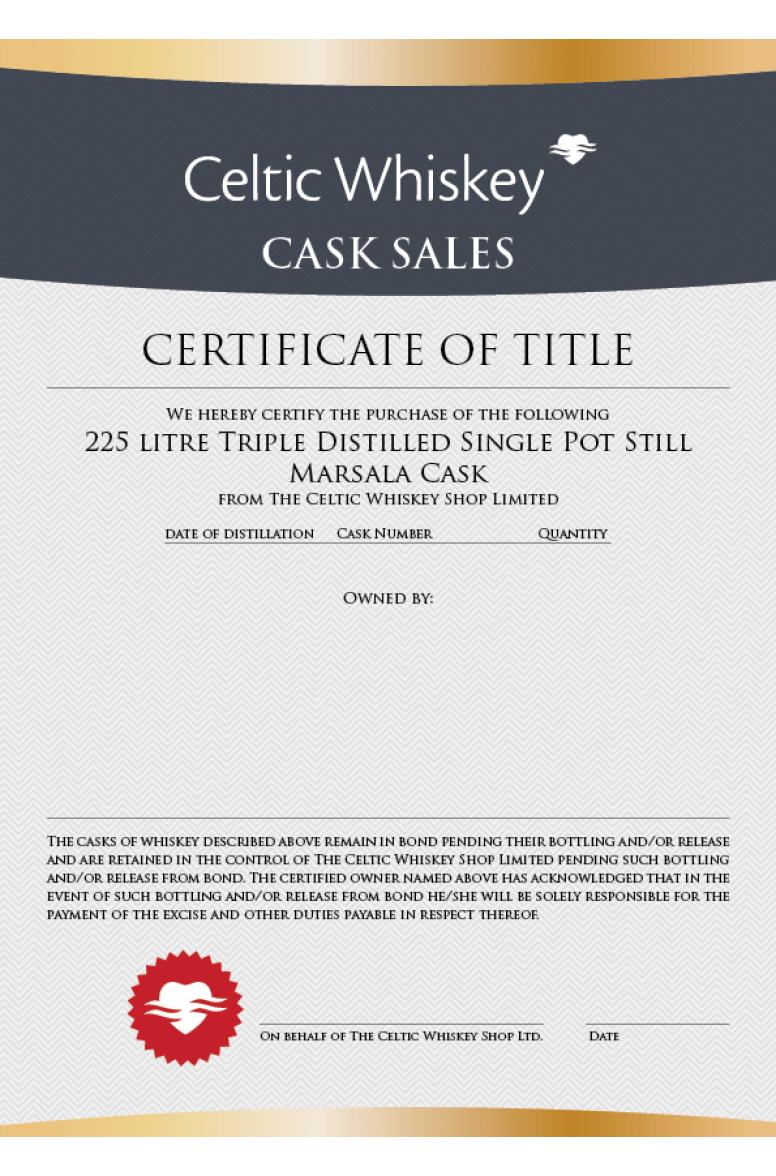 Single Pot Still Marsala Cask ( New Make Triple Distilled, Great Northern Distillery)