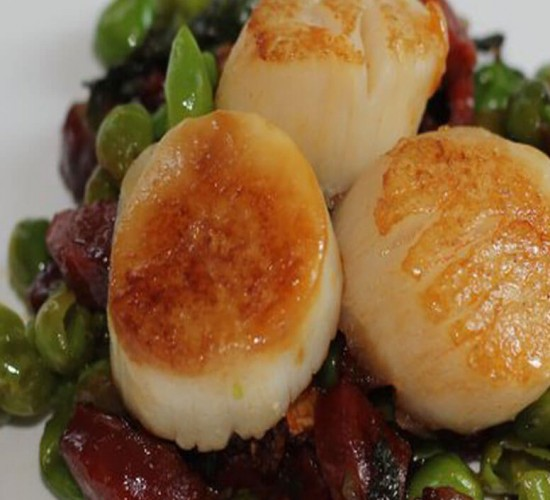 Seared Scallops, Crisp Bacon, Shallots, Potato Mousse